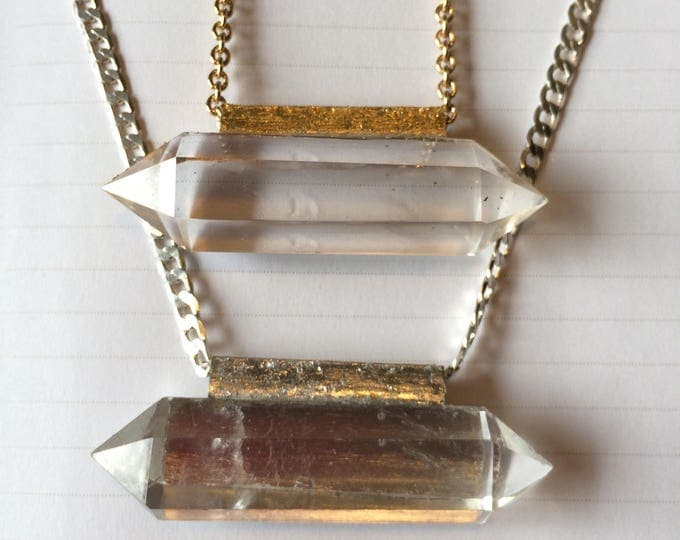 Double Terminated Quartz Crystal Necklace in Gold and Silver