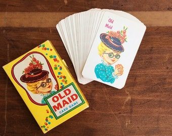 Vintage Old Maid Card Game, Fairchild Old Maid Cards,  Vintage Playing Cards, Retro Paper Ephemera
