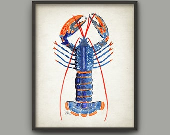 Lobster Watercolor Wall Art Print, Marine Illustration Lobster Painting, Crustacean Bathroom Decor, Nautical Seaside Beach House Poster B299