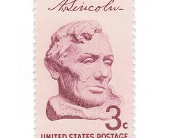 10 Unused Vintage Postage Stamps - 1959 3c Abraham Lincoln - Item No. 1114