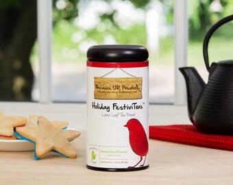 Holiday Festivi-Teas, holiday tea, hot or iced tea, caffeine free loose tea, holiday party idea, hibiscus, organge peel, organic ingredients