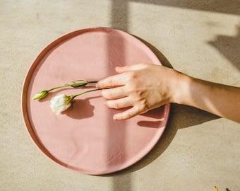Ceramic Dinner Plate,Pink Plate,Ceramic Plate,Cake Plate,Pottery Dinnerware,Porcelain Plate,Dessert Plate,Modern Plate,Pink Pottery,Mom Gift