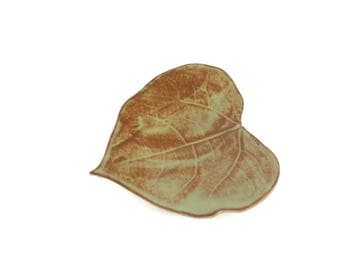Ceramic Cottonwood Leaf - pottery - Shino - green and brown - ring dish - spoon rest - leaf dish - elf decor