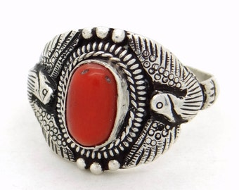 Antique Genuine Red Coral & Sterling Silver Ring Size 10, Untreated Natural Coral Jewelry, Big Size Ring, Thumb Ring, Arts and Crafts Design