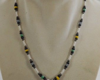 Vintage Karla Jordan Beaded Necklace Sterling Silver Clasp 16 inch Black ,White and Yellow Beads
