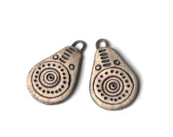 A pair of stoneware pendants RUSTIC and EARTHY, NATURAL ceramic beads - handmade jewelry components