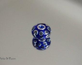 Glass Lampwork - big hole silver-blue/turquoise/Ivory - Pearl bracelet - design bracelet-glass lampwork murano glass bead