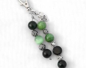 Celtic Keychain Charm, Celtic Bag Dangle, Bag Charm, Purse Charm, Beaded Bag Charm, Keychain Charm, Handbag Charm, Beaded Keychain