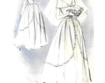 Gorgeous 1940s WEDDING DRESS ~ Vintage Sewing Pattern ~ Brides Dress ~ Long Formal Gown ~ Off the Shoulder ~ Size 14 Bust 32 ~ UNCUT