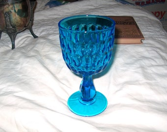 6 Vintage Turquoise Blue Glass Goblets (Price for all 6)
