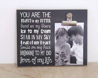Valentines Day Decor, Personalized Photo Frame, Gift For Her, Wedding Anniversary Gift, Bridal Shower Gift, Valentines Day Gift For Him