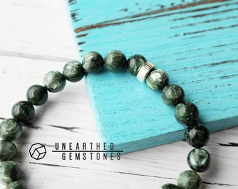 Seraphinite Bracelet - Men Accessories, Gift for Brother, Gift for Father, Seraphinite Jewelry, Spiritual Bracelet, Healing Bracelet
