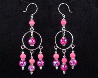 Handmade Pink Multicolor Glass Bead Silver Hoop Chandelier Earrings