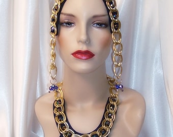 Blue and Gold Cleopatra Headpiece and Collar Set, 2 Piece Cleopatra Headpiece and Collar Set, Cleopatra Costume
