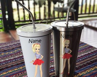 Girl Style 4 Stainless Steel Tumbler 16 OZ with Straw, Stainless Tumbler with Custom Name, Stainless Steel Travel Mug