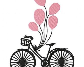 Bike and Balloons Embroidery Design File .vip .vp3 .hus .pes .pec .jef .sew .xxx .csd .dst .exp .emd .10o .pcs .pcm & More 3 Sizes