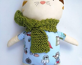 Dylan, the cat with human themed clothes  - rag doll - Stuffed animal - Cloth cat - Soft toy