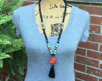 long beaded tassel necklace Black & green wooden beads coral lava stone cotton tassel charm bohemian  beaded necklace mens mala women's mala
