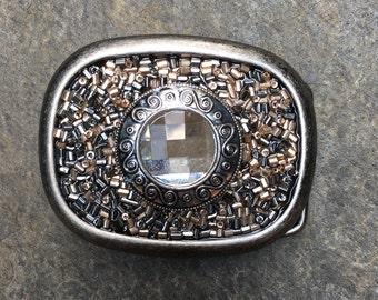 belt buckles embellished belt buckle beaded belt buckles silver & copper glass beaded Sparkly Bohemian belt buckle boho Belt Buckle
