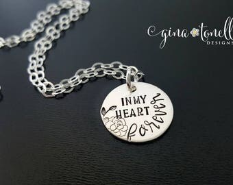 Sterling Silver Memorial Necklace, Sympathy Gift, Remembrance Jewelry, Loss of Father, Loss of Mother, Loss of Husband, Loss of Child, Baby
