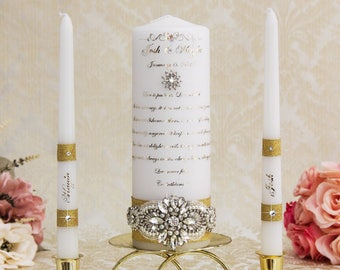 Gold Wedding Unity Candles Set, Personalized Wedding Candles, Gold Wedding Candles Set, Personalized Unity Candle Set