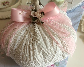 Vintage White  Chenille w/ Pink Roses Fabric Pumpkin