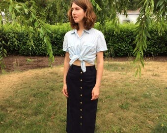 Tommy Hilfiger 90s Skirt / Navy Button Front High Waisted Skirt Small S