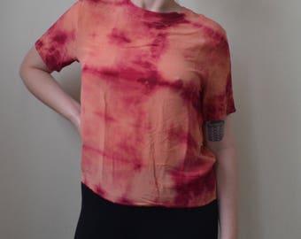 Bleach dyed, acid wash pink tee- S/M