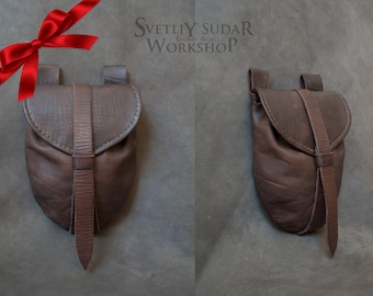 Medieval Leather Bag / Belt Bag / Fantasy style / hand-stitched / handmade