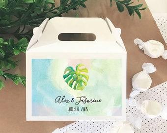 Tropical Beach Mini Gable Boxes 24ct Personalized Gable Box - Beach Wedding Boxes, Gable Boxes, Bridal Shower Boxes, Anniversary Box 2313tpb