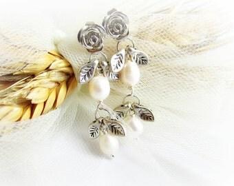 White pearl earrings long freshwater pearl bead dangle earrings wedding jewelry silver leaf and flower earrings bridal earrings women gift