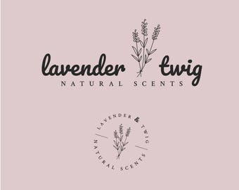 Feminine Premade Logo | Lavender & Twig | Round Watermark | Beauty Boutique Branding | Instant Download | Editable Template