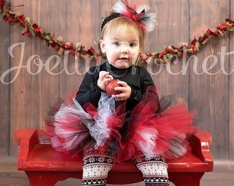 Holiday Christmas Tutu Set, Tutus for Babies, Toddler Girl Photo Outfit JoellaCrochet