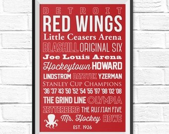Detroit Red Wings - Canvas or Poster - Christmas Gift - Gifts for Him