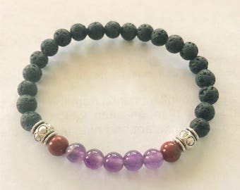 Blood Cancer Healing Leukemia Blood Plasma Stem Cell Donor Amethyst Lava Bead Essential Oil Aromatherapy Therapeutic Stretch Bracelet