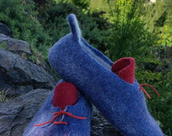 Handmade Felted Wool Women Slippers. ''Royal Blue'' Made by Feltingstudio in Edinburgh, SCOTLAND