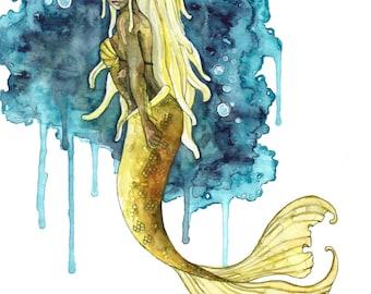 "Watercolor Mermaid Painting - Print titled, ""Calm Depths"", Mermaid Art, Mermaid Tail, Mermaid Print, Mermaid Wall Art, Mermaid Painting, Art"