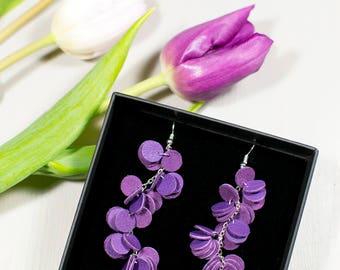 VUONO earrings - Bright violet reindeer leather cluster earrings - Dangle earrings