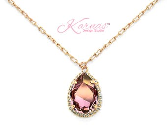 ANTIQUE PINK HALO 30x20mm Crystal Pear Necklace Swarovski Elements *Pick Your Finish *Karnas Design Studio *Free Shipping*