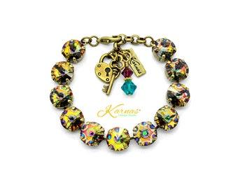 PERFECTLY PEACOCK 12mm Charm Bracelet Made With Swarovski Crystal *Choose Finish & Size *Karnas Design Studio™ *Free Shipping*