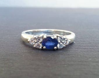 Sapphire & Diamond Cluster Engagement Ring