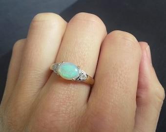 Landscape Opal & Diamond Ring