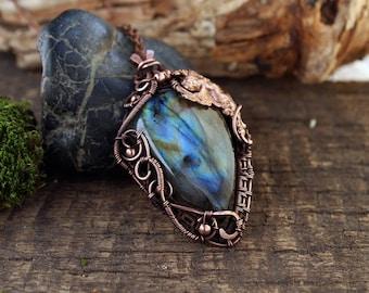 Regalo de Boho único collar piedra colgante para su hada joyería labradorita diosa colgante joyería Wicca pagana colgante alambre Wicca diosa