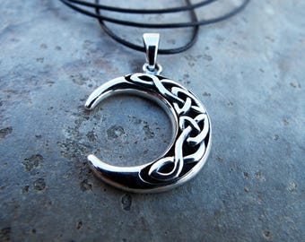 Crescent Moon Pendant Sterling Silver 925 Handmade Celtic Necklace Luna Jewelry