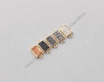 Tiny Druzy Retangle Bezel Connectors -- Druzzy Drusy With Electroplated Gold Edge Charms Wholesale Supplies dainty CQA-079