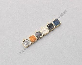 Tiny Druzy Square Bezel Pendants -- Druzzy Drusy With Electroplated Gold Edge Charms Dainty Wholesale Supplies CQA-078