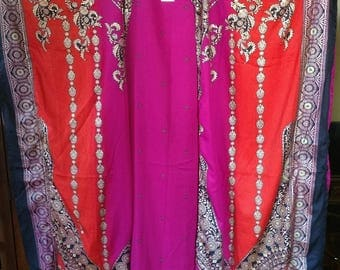 Open front Cover Up Robe -- Polyester Magenta black Orange Pink & metallic gold print Caftan Long Tunic Belly Dance Fits One Size