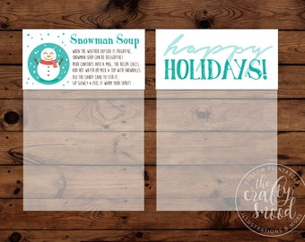"""Snowman Soup (Hot Cocoa) Bag Toppers (4-up) for  4""""x6"""" bag - Instant Download Printable PDF"""
