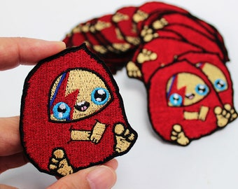 Bowie Iron On PAtch- Embroidered Applique - Embroidered patch - starman - ziggy stardust - aladdin sane