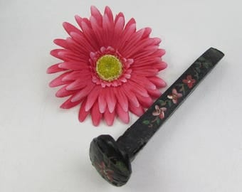 Vintage Tole Painted Railroad Spike, Country Décor, Paperweight, Tole Painted Flowers, Folk Art